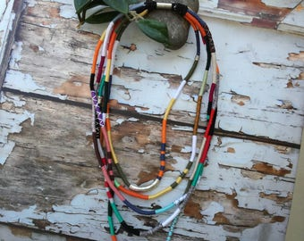 Colorful Layered Necklace, Unique rope jewelry, Fiber statement necklace, Statement rope necklace,rope necklace,