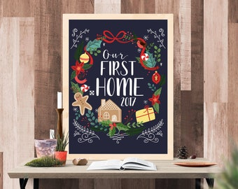 First Home Christmas Printable - Housewarming Christmas Printable - Moving In Together Wall Art -  Gingerbread House Print -Last Minute Gift