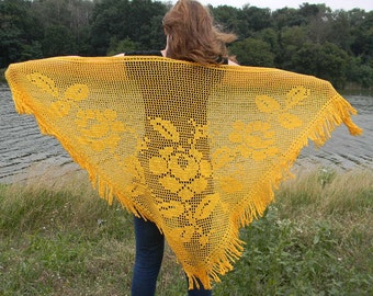 Golden Crochet shawl Lace wedding wrap Bridal anniversary gifts Accessories summer shawl sunny shawl fringed knitted for wife evening wear