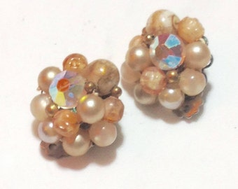 Vintage Brown Beaded Clip Earrings