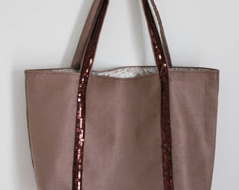 Large suede bag, taupe and Brown glitter band