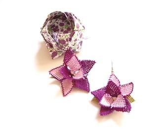 3D Turkish needle lace earrings Turkish crochet earrings Turkish oya earrings Purple green lace earrings Lace jewelry Flower floral earrings