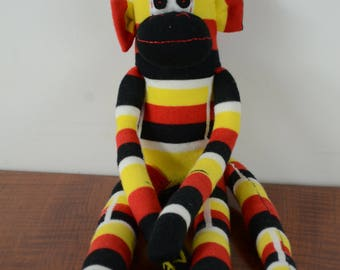 German Flag Monkey, Sock Monkey, Red, black and yellow sock monkey, monkey toy