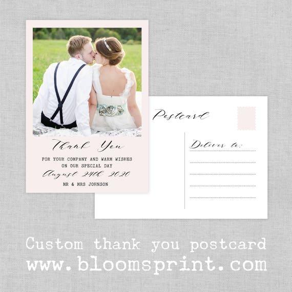 Custom Photo Wedding Thank You Card, Wedding thank you from Mr & Mrs, Thank you flat note cards, Mr  Mrs note cards, Thank you post card