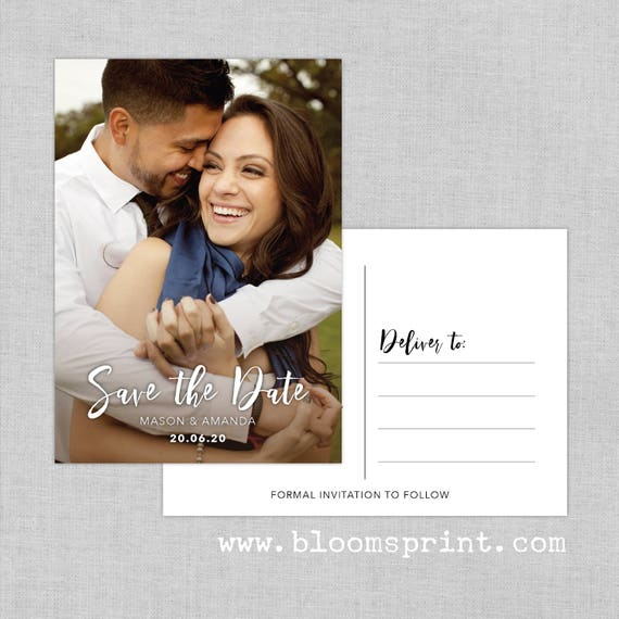 Custom photo save the date cards, Personalized save the date postcards, Modern save the date cards, Printed Save the Date Postcards, A6