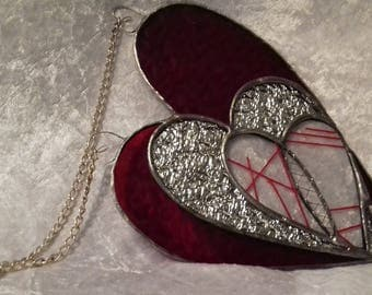 One off Stained glass Stitched Heart Mothers Day