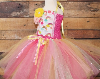 Ready To Ship 3-4 Years Rainbow Pastel Tutu Dress With Rainbow Fabric