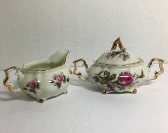 Vintage Unique Footed Sugar and Creamer Set with Gold Trim and Roses   (TTT1)