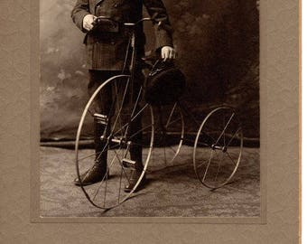 Vintage Antique 1900 Cabinet Card ~ Boy with Tricycle ~ Shawnee, Oklahoma