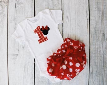 Minnie Mouse 1st Birthday Outfit / Birthday Bodysuit + Ruffle Bloomers / Disney First Birthday / Cake Smash / Party / Baby / Girl / Toddler