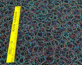 Circles on Black Cotton Fabric