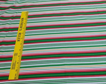 Red and Green Striped Cotton Fabric