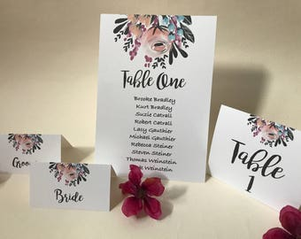 Wedding Seating Chart Cards, Floral Wedding Seating Chart, Floral Wedding Seating Cards, Seating Chart Cards, Printed Floral Seating Chart