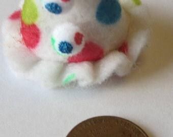 Dollhouse Miniature  polka dot clown or birthday felt hat with 2  pom poms