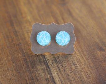 Blue patterned studs