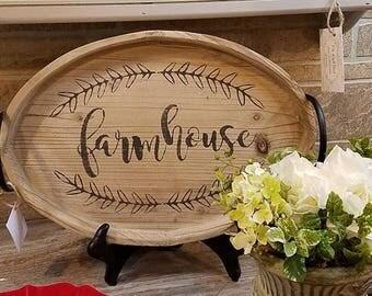 Decorative Wood Farmhouse Tray