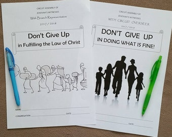 2 Teen/Adult Circuit Assembly JW Notebooks for Don't Give Up in Doing What is Fine & Fulfilling the Law of Christ 2017/18