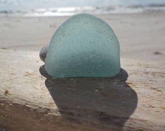 "Genuine Perfectly smoothed flawless Nice blue Thick Sea Glass piece-long-1.2""-Rare Sea Glass-Jewelry quality-Pendant size Sea Glass#J43"