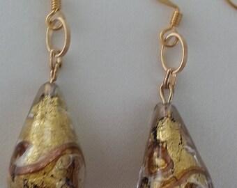 Murano glass - Aventurine and Pearl drop earrings.