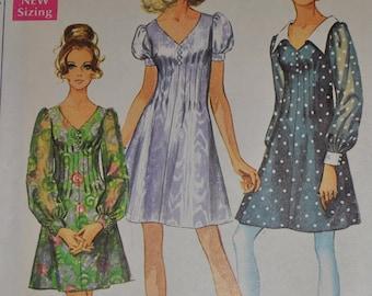 Vintage 1960s Simplicity 8089 Sewing Pattern Short Dress, Short Puff Sleeve, Tucks, Sheer Sleeves Collar Collarless,Size 16, Bust 38