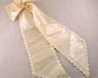 Vintage Ivory Satin Bow with Lace Trim- Embellishment