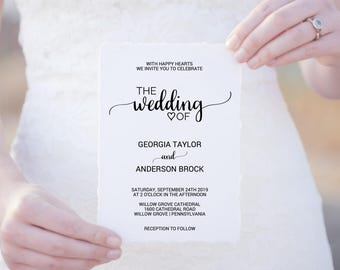 Rustic Calligraphy Wedding Invitation Template: A Printable Simple Black and White Wedding Invite, DIY Editable PDF Instant Download K008