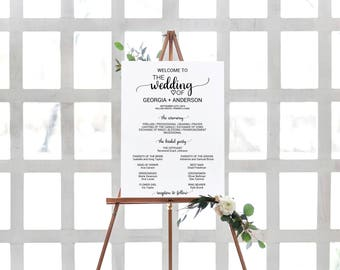 Wedding Ceremony Program Sign Template: Printable Welcome Wedding Poster, Rustic Wedding Program Sign, Instant Download Editable PDF K008