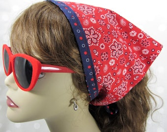 Red Bandana Print // Non-Slip Triangle Hair Scarf // Kerchief // w/ Beading and Tie Closure // Good for Fine // Thinning Hair #234