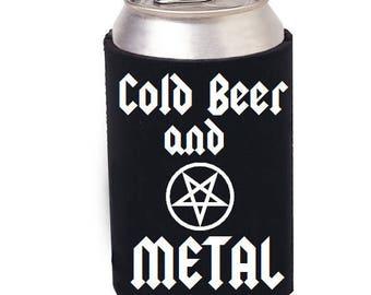 Beer and Heavy Metal cozie, Pentagram beer cozie, Beer can cooler, Satanic beer cooler, Black Metal, Death Metal, Mug, Beer, Craft Beer