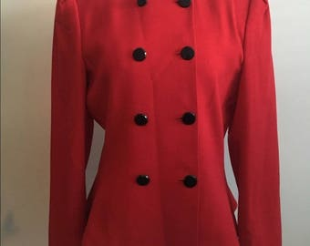 Red Wool Double Breasted Vintage Blazer