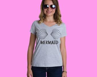 Mermaid tee, Mermaid t-shirt, Shell bra, Shell bra t-shirt, Cute t-shirt, Women tee, Shells t-shirt