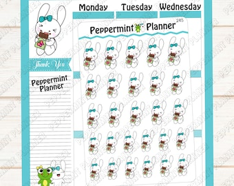 Jelly Bean eating a chocolate bar --- hand drawn  --- planner stickers --- 245
