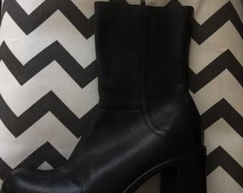 Leather Platform Boots Goth, Boho, SteamPunk