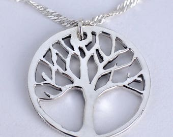 Silver Tree of Life Necklace, hand carved from antique US half-dollar coin, on sterling silver (925) Singapore chain