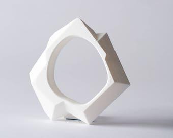 Geometric Jewelry, Unique, Valentine Gift, Modern, Future Bracelet, White Jewerly, 3D Printed Jewelry, Eco Friendly Jewelry