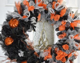 LAST ONE! Halloween Wreath, Wreath, Pumpkins, Fall Wreaths, Black Roses