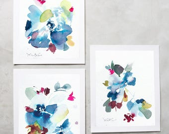 Original, Set of 3, Watercolor peony, pink floral painting, peony art, peony watercolor, abstract floral painting, floral art, wall art