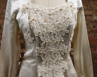 Stunning 1950's Laura Phillips, silk and seed pearl wedding gown, vintage Laura Phillips pearl dress, gorgeous 1950's dress