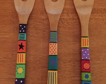 Hand-painted Wooden Cooking Spoon