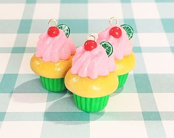Cherry Limeade Cupcake Charm, Polymer Clay Charm, Keychain, Polymer Clay Accessories, Cherry Cupcake, Glitter, Foodie Gift, Gift for Her