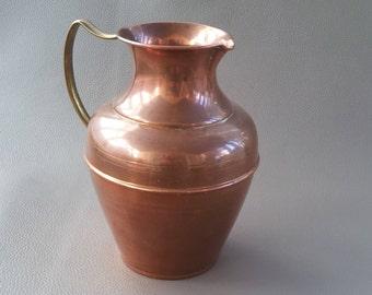 Copper, Copper Jug with brass handle , Copper Pitcher, Ornament, Copper Ornament, Copperware, Copperware Jug