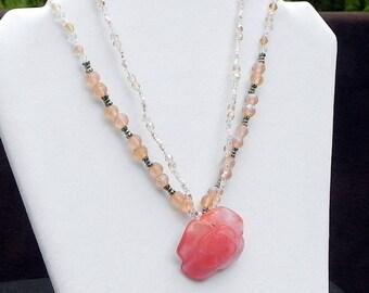 Cherry Quartz Rose Necklace