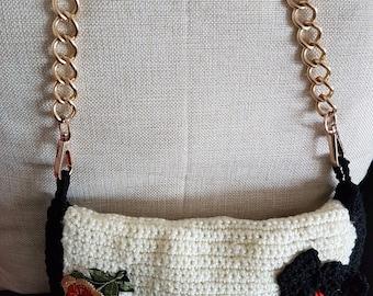 Shoulder length strap crochet bag. Beige colour