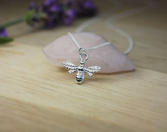 Silver Honey Bee Pendant Necklace, Sterling Silver