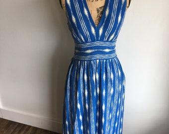 linen maxi dress   blue&white   ikat print