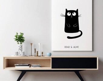 Schrodingers Cat Poster | Schrödinger's Cat | Quantum Physics Teacher Gift | Physics Poster | Physics Gift | Quantum Mechanics