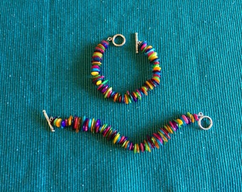 Multicolor Mother of Pearl and Gemstone Bracelets on silvertone toggle clasps