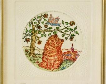 "Hand colored etching of cat and bird--""Gatifundio"""