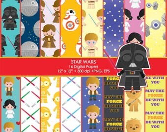 Star Wars, Luke, Leia, Skywalker, Darth Vader, R2D2, C3PO, BB8, Chewbaka, Death Star, Clipart, Digital Paper, Scrapbook, Commercial use