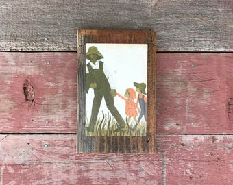 Peace by Piece Reclaimed Wood Children's Book Illustration Wall Art, Vintage African American Art Picture Frame